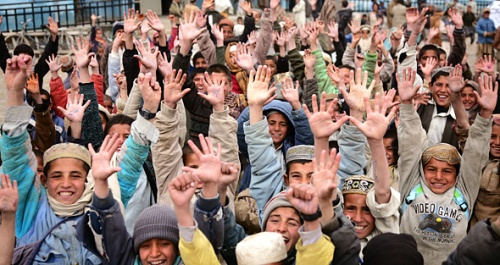 Pupils at Butkhak high school in Kabul.